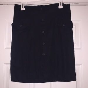 Maternal America Skirts - Maternity Black linen button down skirt